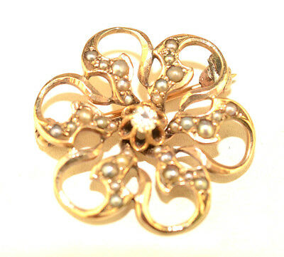 """Antique 10K Yellow Gold Flower Shape 7/8"""" Pin With Diamond & Tiny Seed Pearls"""