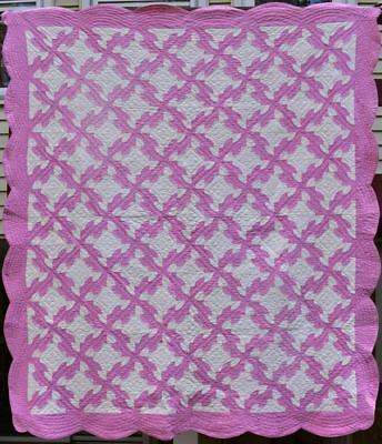 Antique Hand Quilted Cotton Quilt, Pink & White Drunkard's Path,Bordered, #18431