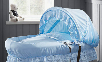 Brand new Izziwotnot royal lace dark wicker moses basket blue and soft toy