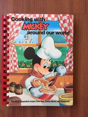 Cooking with Mickey Around Our World Cookbook Walt Disney World Vintage