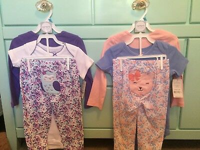 New Lot Baby Girl Bodysuits Pants 3 Piece Sets Carters 24 Mo Months Pink Purple