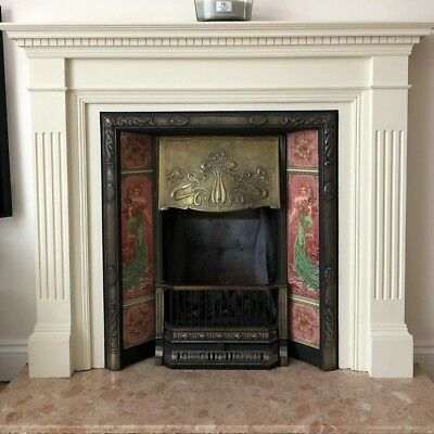 Victorian style cast iron tiled combination fireplace