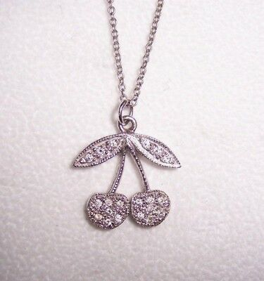 Cherries Pendant 14K  White Gold W/ Pave Diamonds  New Special Discount!!