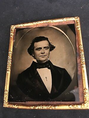 HIGH QUALITY RUBY AMBROTYPE of a DAGUERREOTYPE of a DISTINGUISHED GENT