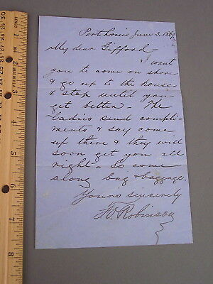 """1869 Letter To Capt. Gifford [Whaling Bark """"China""""] Who Is Ill, To Come On Shore"""