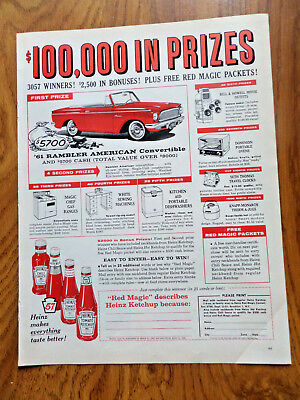 1961 Ramber American Convertible Ad Heinz Ketchup Sweepstakes