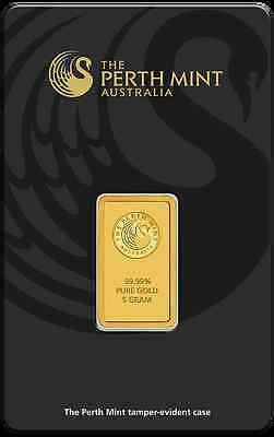 PERTH MINT 5g (gram) Gold Bar .9999 PURE
