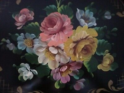 Vtg Large Floral Tole Metal Serving Tray HandPainted Toleware Beautiful Art Work