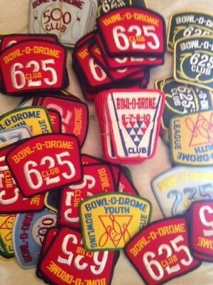 Great Lot of Over 100 Vintage Bowl-O-Drome Bowling Patches Bowling