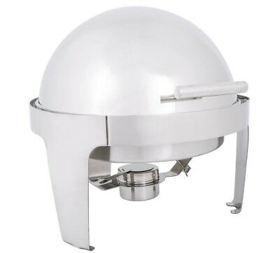 6.5 Qt. Round Stainless Steel Roll Top Chafer with Chrome Trim Buffet Food Cover