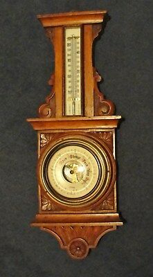 early 1900s BAROMETER / THERMOMETER in CARVED OAK CASE in good working condt