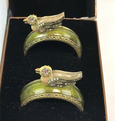 Pair Boxed Jay Strongwater Jeweled Napkin Rings w/ Bird Decorations