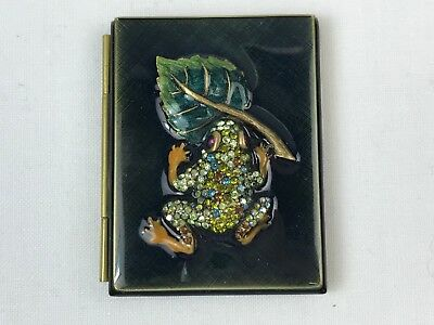 Jay Strongwater Enameled Book-Form Double Picture Frame Jeweled Frog on Leaf