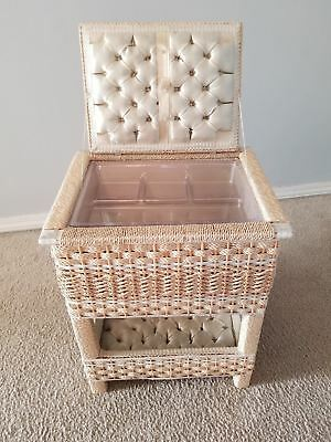 "Large Vintage Sewing Basket Box 18"" Tall Wicker Handle Tan Double Pin Cushion"