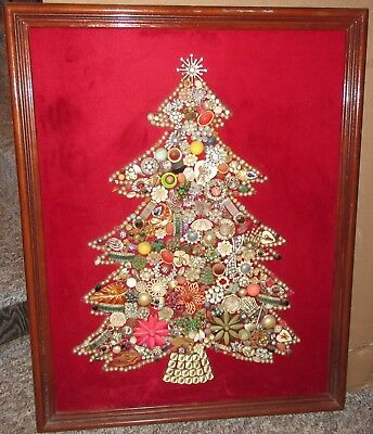 Shabby Christmas Tree Picture Made With Vintage Jewelry 22 X 28