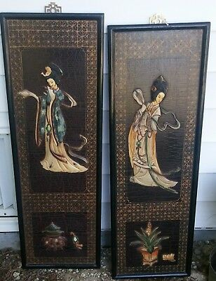 Geshia Oriental Black Lacquer Wall Hanging Wood Panel Resin