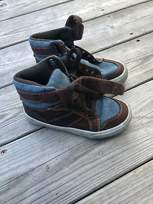 Toddler Boys Children's Place Brown & Denim Look Casual Lace Up Sneakers - Sz 12