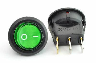 12v LED illuminated rocker switch 20A 12V Push button ON/OFF Round Green. 0260