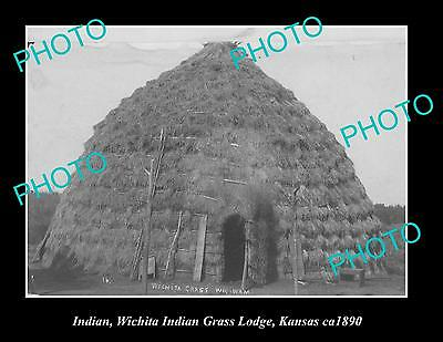 OLD LARGE HISTORIC PHOTO OF WHICITA INDIAN GRASS LODGE, KANSAS AREA c1890