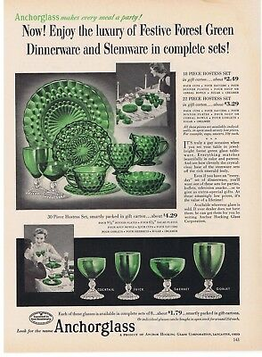 1954 Anchorglass Forest Green Bubble Pattern Print Ad