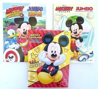 Lot of 3 MICKEY MOUSE Disney Jumbo Coloring and Activity Books, for Children