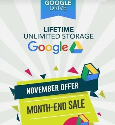 STORAGE UNLIMITED ON GOOGLE DRIVE  PROMOTION Exising Acc 100% Secure