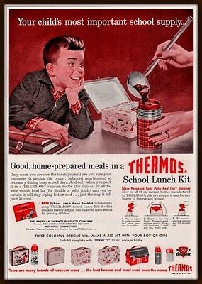 1957 A  Ad  Thermos Red Plaid Boy Lunchbox Pink Colorful Designs
