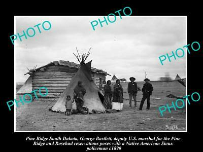 OLD HISTORIC PHOTO OF PINE RIDGE SOUTH DAKOTA, SIOUX INDIAN POLICEMAN c1890