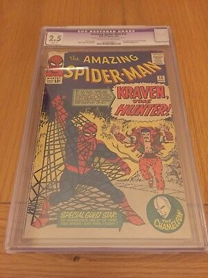 Amazing Spider-Man #15 CGC Restored Grade 2.5 (Silver Age) 1st Kraven The Hunter