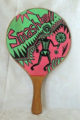 Vintage Smashball Paddle Wood Paddle Art Deco folk art skeleton design FreeSHIP