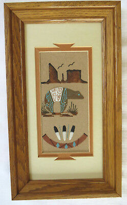 Framed Sand Art Painting by Native American Navajo Artist Ethel Brown Signed