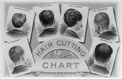 Photo of Hair Cutting Chart,Barber,Commodore,Shingle,Pompadour,Military,c1884