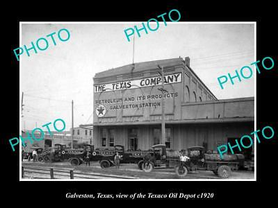 OLD LARGE HISTORIC PHOTO OF GALVESTON TEXAS, THE TEXACO OIL DEPOT c1920