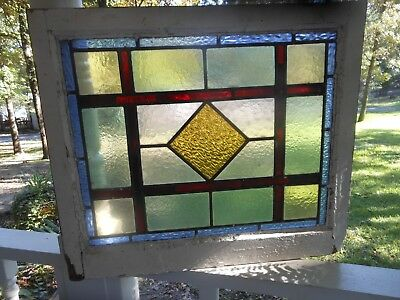 GO150 Lovely Older Leaded Stained Glass Window F/England 24 3/4 W X 21 1/8 T