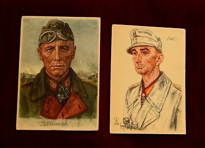 World War 2 Original German Officers Art Postcards ~
