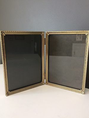 Vintage Picture Frame 5x7 Double Hinge Brass Colored Metal Two Photo