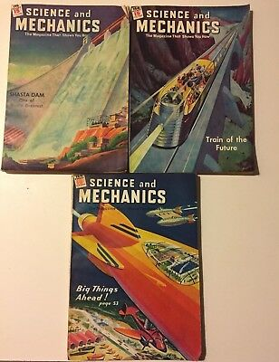Science and Mechanics Lot of (3) Vintage Issues Oct. 1944, Jun. 1945 & Dec. 1945