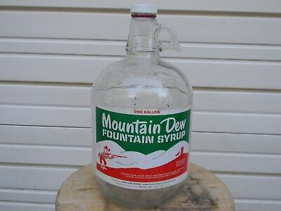 """Vintage """"MOUNTAIN DEW"""" One Gallon Bottle Soda Fountain Syrup Jug Nice Label NICE"""
