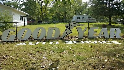 Vintage Porcelain Advertisng Sign Good Year Auto Service With Winged Boot