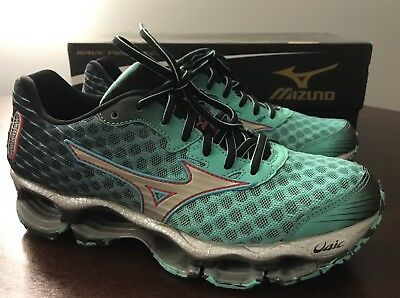 new concept e0ac6 0653b Womens Mizuno Wave Prophecy 4 Running Athletic Shoes Green Black Silver  Size 6.5