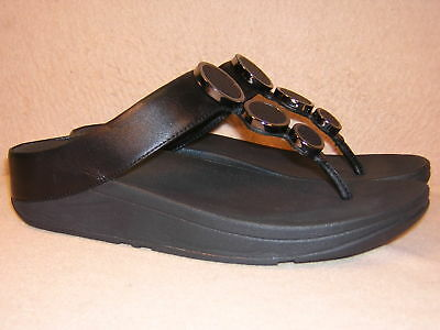 1249051b2e6f FITFLOP 142-001 HALO Toe Thong Black Leather Sandals Women s US 8 ...