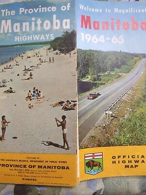 VINTAGE MAP Manitoba Canada Official Highway Map 1964-65 Big Colorful, Good Cond