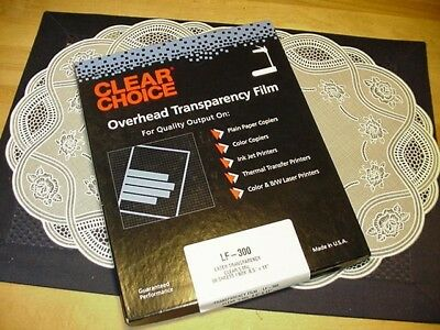 Clear Choice OverHead Transparency Film LF-300 Laser Transparency 5Mil 50 Sheets