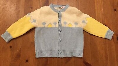 Silver Spoon Vintage Baby Boy 24ms Blue, Yellow, & White Sweater Button Front