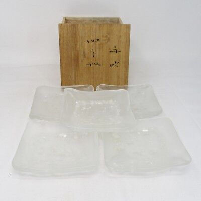 H355: Japanese five square plates of glass ware by great KYOHEI FUJITA with box