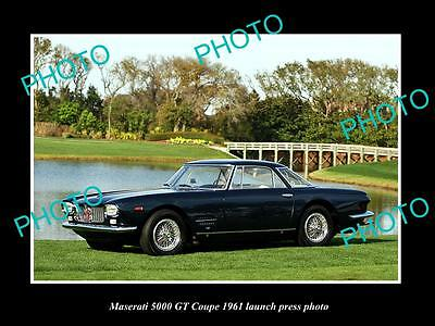 Old Large Historic Photo Of 1961 Maserati 5000 Gt Coupe Launch Press Photo