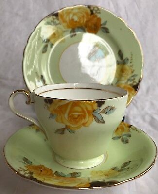 RARE Aynsley Pale Green Bone China Cup & Saucer & Plate -Orange Roses-Gold Trim