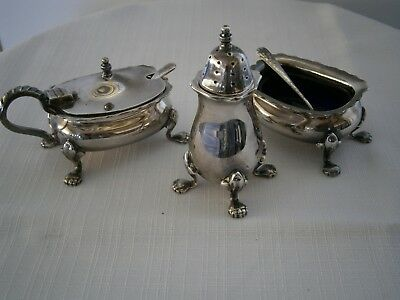 Strachan Australian Epns A1 Cruet Set Good Condition With Liners And Spoons