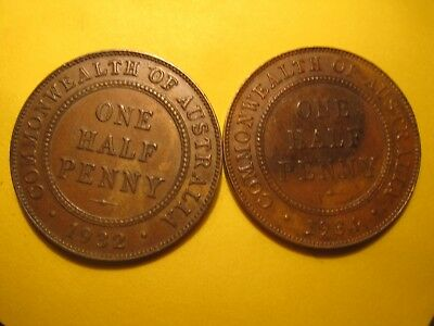 High grade 1932 and 1934 Halfpennies with six and eight pearls