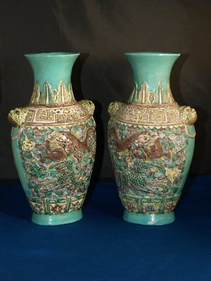 RARE PAIR OF ANTIQUE CHINESE DRAGON AND PHOENIX VASES signed Ching Dynasty